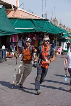 21. Erik and Jeff charging through the markets of Marrakech.
