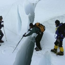 17. Jeff guiding Erik through the ice fall.
