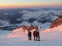 6. Summit day dawns on Mt. Rainier.
