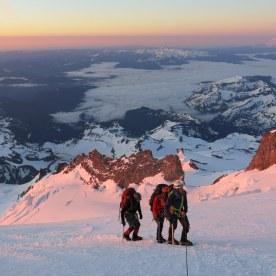 6. Summit day dawns on Mt. Rainier.